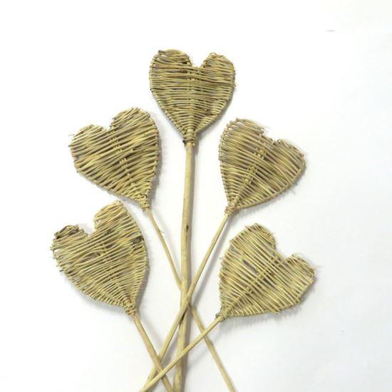 Picture of Lata heart - přírodní, na stonku (5ks)