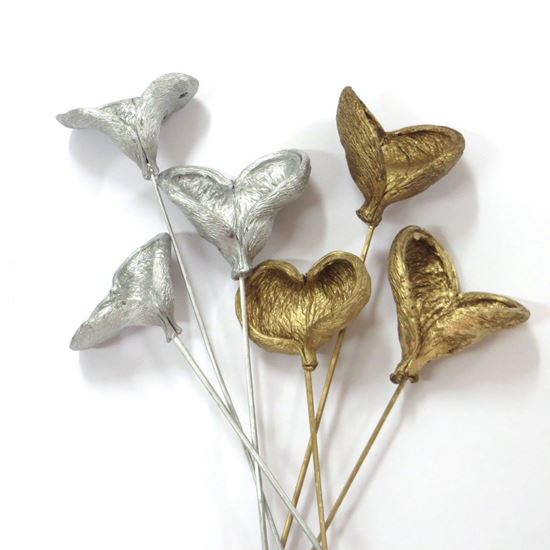 Obrázek z Badam na stonku - zlatý, stříbrný (10ks)